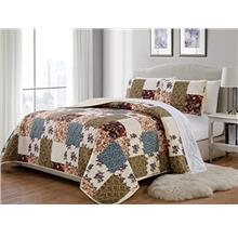 [From USA]Mk 3pc King/California King Home Bedspread Quilted Print Floral Beig