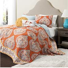 [From USA]Lush Decor Harley Quilt Set Damask Pattern Reversible 5 Piece Beddin
