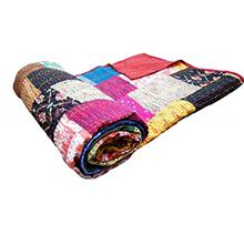 [From USA]Americana Decor's Silk Patch Work Patola Kantha Quilt Silk Sari Kant