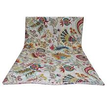 [From USA]White Multicolor Mukut Print Queen Size Kantha Quilt Kantha Blanket