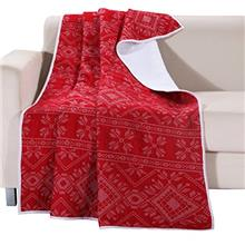 [From USA]Greenland Home Holly Quilted Cotton Throw with Cross Stitching Red