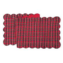 [From USA]14X51 Inches Quilted   SCALLOP RUNNER RED PLAID
