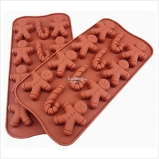 Christmas Cartoon Gingerbread Man Cane Chocolate Silicone Mould
