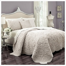 [From USA]VUE Plush Décor 100% Cotton Coverlet Cover Sets with 2 Decorative S