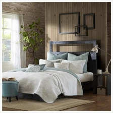 [From USA]INK+IVY Pacific 140TC Coverlet Set King Blue (Seafoam)