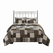 [From USA]Madison Park Timber 3 Piece Reversible Printed Coverlet Set King/Cal