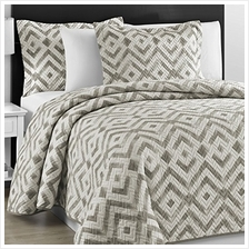 [From USA]Comfy Bedding Prewashed Durable Chevron Quilted Gray and Off White 3