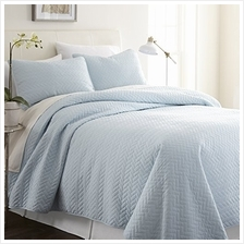 [From USA]ienjy Home Herring Patterned Quilted Coverlet Set King Pale Blue