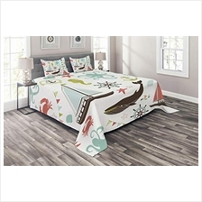 [From USA]Ambesonne Nautical Coverlet Pastel Colored Composition of Lighthouse