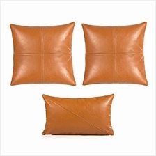[From USA]Snugtown Decorative Faux Leather Brown Throw Pillow Cover Set of 3 1