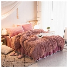 [From USA]MooWoo 4PCS Shaggy Bedding Sets 1 Velvet Flannel Duvet Cover + 1 Qui