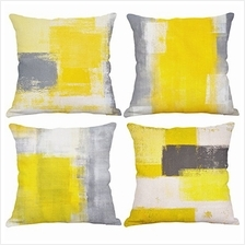 [From USA]Set of 4 Yellow Throw Pillow Covers Decorative Cotton Linen Square C