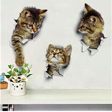 3d toilet wall sticker cat waterproof cute kitchen bathroom tile stick