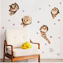 Cute home decor wall sticker cat waterproof bathroom toilet sticker re