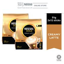 Nescafe Gold Creamy Latte 12 Sticks, 31g Bundle of 2)