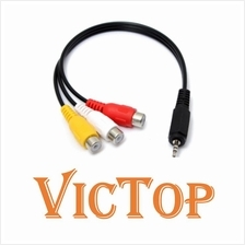 2.5mm Male Plug to 3 RCA Female Audio Video AV Adapter Converter Cable