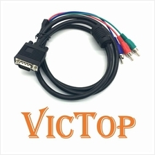 1.5M VGA to TV 3 RCA Component AV Adapter Cable for PC Laptop