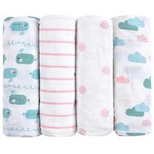 [From USA]Emma  & Noah Muslin Swaddle Blankets Burp Cloths 4 Pack 100% Cot
