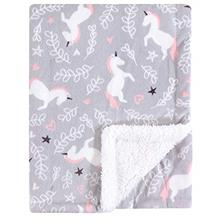 [From USA]Hudson Baby Mink Blanket with Sherpa Backing Whimsical Unicorn One S
