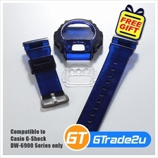 Custom Band  & Bezel Jelly Dark Blue for Casio G-Shock DW-6900 Series