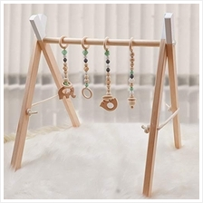 [From USA]Wooden Baby Gym with 4 Baby Teething Toys Foldable Baby Play Activit
