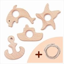 [From USA]Wooden Baby Teether 4 Piece Set(Starfish/Boat/Anchor/Dolphin) Wooden