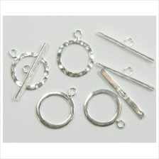 [USA Shipping]4 Full Hammered .925 Sterling Silver Jewelry Toggle Clasps 14mm.