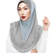 Fully Instant Shawl Two Layer Full Cover Inner Muslim Head Wear Slip On Shawl
