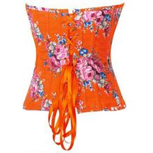 Orange Floral Strapless Corset