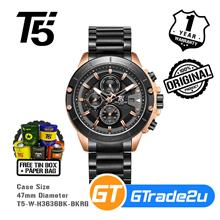 T5 Mens Chronograph Watch H3636 Black Steel Band Black Rose Gold