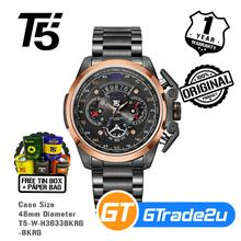 T5 Mens Chronograph Watch H3633 Black Steel Band Black Rose Gold