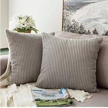 [From USA]MIULEE Pack of 2 Corduroy Soft Soild Decorative Square Throw Pillow