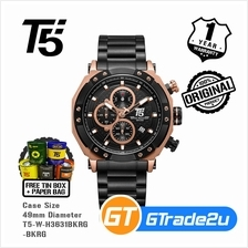 T5 Mens Chronograph Watch H3631 Rose Gold Case Sport Black Rosegold