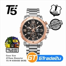 T5 Mens Chronograph Watch H3640 Stainless Steel Band Black Rose Gold