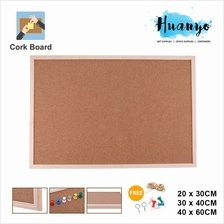 Wooden Frame Notice Bulletin Cork Board (20 x 30 / 30 x 40 /40 x 60 CM