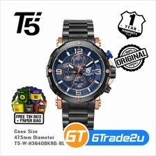 T5 Mens Chronograph Watch H3640 Black Steel Band Luxury Blue*Free Gift