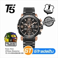 T5 Mens Chronograph Watch H3640 Black Band Rose Gold Case Luxury Black