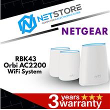 Netgear RBK43 Orbi Whole Home AC2200 Tri-band Mesh WiFi System 3 Pack