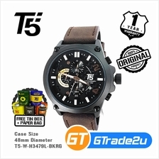 T5 Mens Chronograph Watch H3479 Genuine Leather Band Black RoseGold