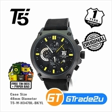 T5 Mens Chronograph Watch H3479 Genuine Leather Band Black Yellow
