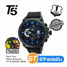 T5 Mens Chronograph Watch H3479 Genuine Leather Band Sport Black Blue