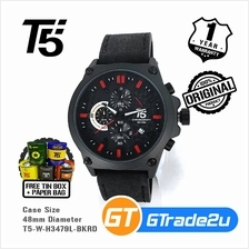 T5 Mens Chronograph Watch H3479 Genuine Leather Band Sport Black Red