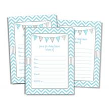 [Good Choice]50 Blue Boy Baby Shower Invitations and Envelopes (Large Size 5x7
