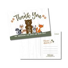 [Good Choice]25 Girl or Boy Woodland Baby Shower Thank You Note Card Bulk Set
