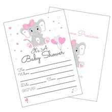 [Good Choice]Pink Elephant Girl Baby Shower Invitations with Envelopes for Ele
