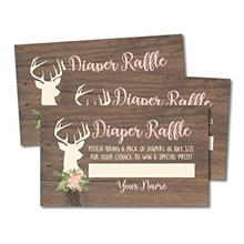 [Good Choice]25 Oh Deer Diaper Raffle Ticket Lottery Insert Cards for Girl Bab