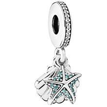 [USA]PANDORA Tropical Starfish  & Sea Shell Dangle Charm Sterling