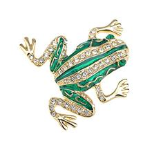 [USA Shipping]Alilang Czech Crystal Rhinestone Synthetic Emerald Golden Frog F
