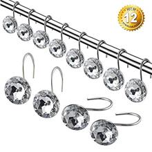 [From USA]LATOW 12 Pcs Decorative Shower Curtain Ring Hooks Rustproof Durable