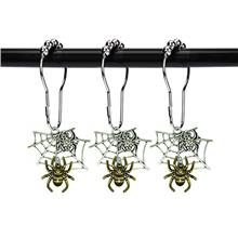 [From USA]ZILucky Spider Shower Curtain Hooks Rings Halloween Bath Decor Party